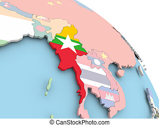 Flag of Myanmar on globe
