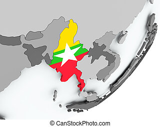 Flag of Myanmar on map