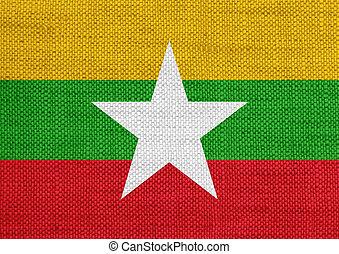 Flag of Myanmar on old linen