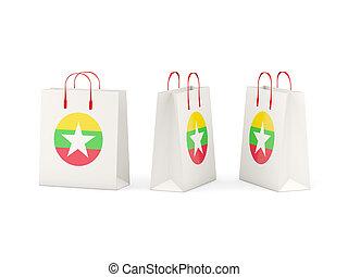 Flag of myanmar on shopping bags