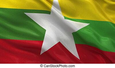 Flag of Myanmar seamless loop