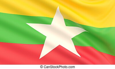 Flag of Myanmar. Waved highly detailed fabric texture.