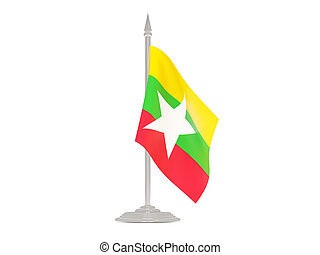 Flag of myanmar with flagpole. 3d render