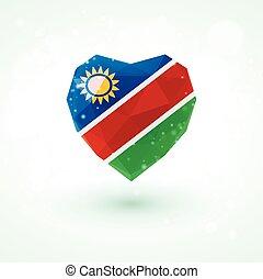 Flag of Namibia in shape diamond glass heart. Triangulation style