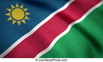 Flag of Namibia with fabric texture, seamless loop. Namibia...