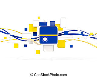 Flag of nauru, mosaic background with lines