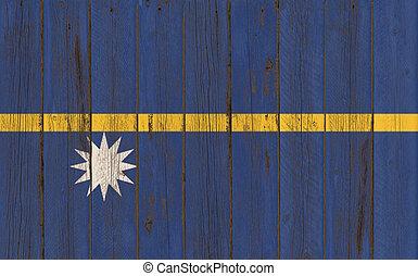 Flag of Nauru painted on wooden frame