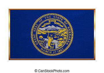 Flag of Nebraska , golden frame, fabric texture