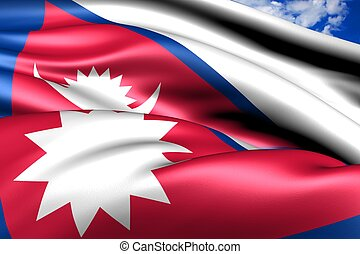 Flag of Nepal. Close up.