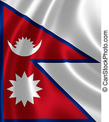 Flag of Nepal - Close up of the flag of Nepal on silky ...