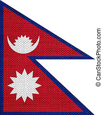 Flag of Nepal on old linen