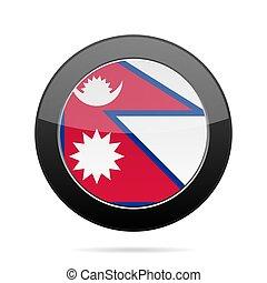Flag of Nepal. Shiny black round button.