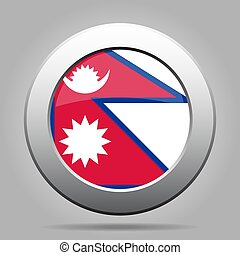 Flag of Nepal. Shiny metal gray round button.