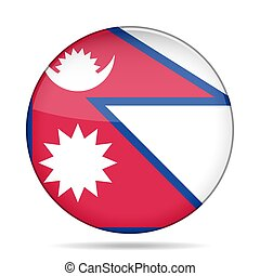 Flag of Nepal. Shiny round button.
