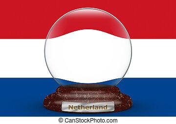 Flag of Netherland on snow globe