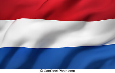 Flag of Netherlands blowing in the wind