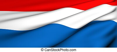Flag of Netherlands. Close up. Front view.