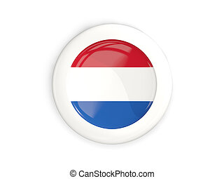 Flag of netherlands, glossy round button