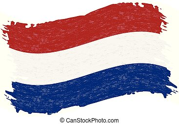 Flag of Netherlands, Grunge Abstract Brush Stroke Isolated On A White Background. Vector Illustration.