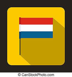 Flag of Netherlands icon, flat style