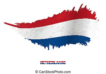 Flag of Netherlands in grunge style with waving effect.