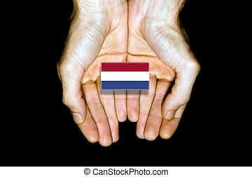 Flag of Netherlands in hands on black background