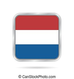 Flag of Netherlands. Metallic gray square button.