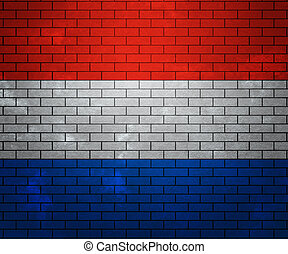 Flag of Netherlands on Brick Wall