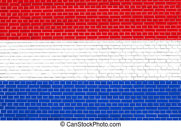 Flag of Netherlands on brick wall texture background
