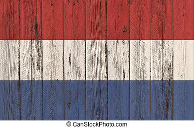 Flag of Netherlands painted on wooden frame
