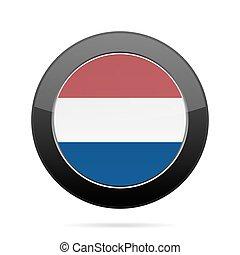 Flag of Netherlands. Shiny black round button.