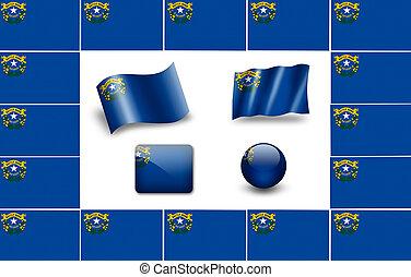 Flag of Nevada. icon set. flags frame