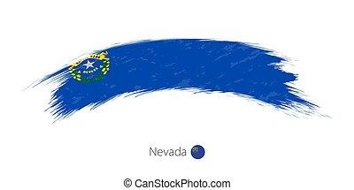 Flag of Nevada in rounded grunge brush stroke.