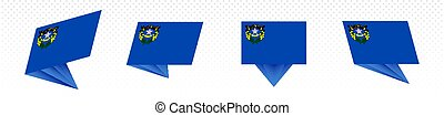 Flag of Nevada US State in modern abstract design, flag set.