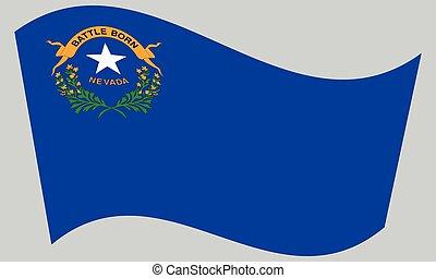 Flag of Nevada waving on gray background