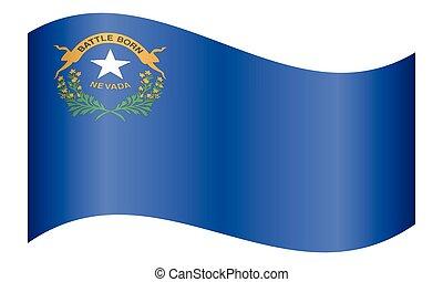 Flag of Nevada waving on white background