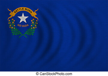Flag of the US state of Nevada. American patriotic element. USA banner. United States of America symbol. Nevadan official flag wavy, real detailed fabric texture, illustration. Accurate size, colors