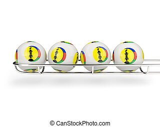 Flag of new caledonia on lottery balls