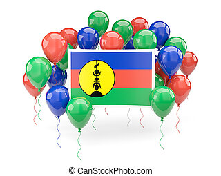 Flag of new caledonia with balloons