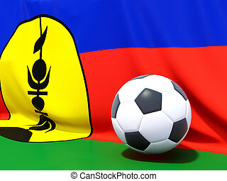 Flag of new caledonia with football in front of it