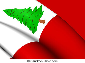 Flag of New England, Pine Version, USA. - 3D Flag of New...