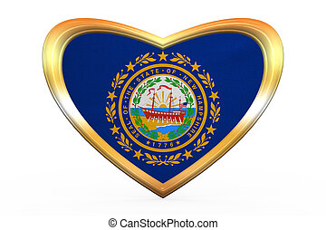 Flag of New Hampshire in heart shape, golden frame