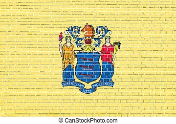 Flag of New Jersey, brick wall texture background