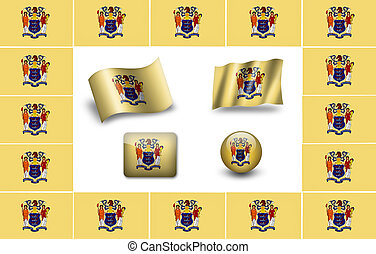 Flag of New Jersey (USA). icon set. flags frame.