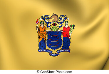 Flag of New Jersey, USA. Close Up.