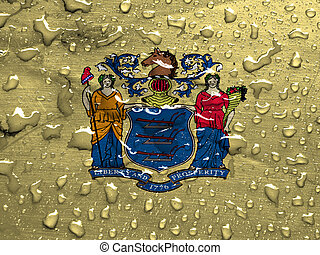 flag of New Jersey with rain drops