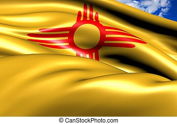 Flag of New Mexico against cloudy sky. Close up.