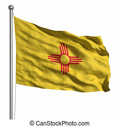 Flag of New Mexico. Rendered with fabric texture (visible at 100%). Clipping path included.