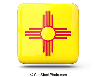 Flag of new mexico, US states square icon isolated on white. 3D illustration