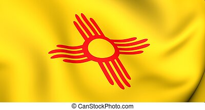 Flag of New Mexico, USA. Close up. 3d